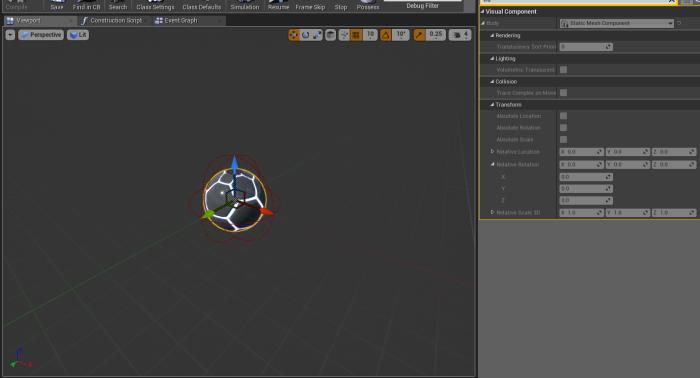 PlasmaGrenadeProjectile Blueprint Viewport