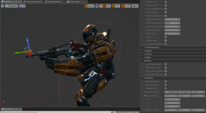 PlayerPawn Blueprint GrenadeSpawnPoint